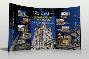 Graphic design Gloucester cathedral exhibition stand by Zapp Multimedia Gloucestershire UK
